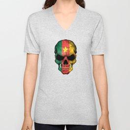 Dark Skull with Flag of Cameroon Unisex V-Neck