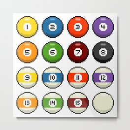 8-bit Pixel Art Pool Balls Metal Print