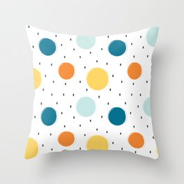 cute colorful pattern with grunge circle shapes Throw Pillow