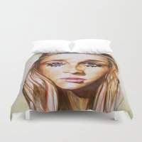 hippie Duvet Covers featuring Hippie Girl by Liz Slome
