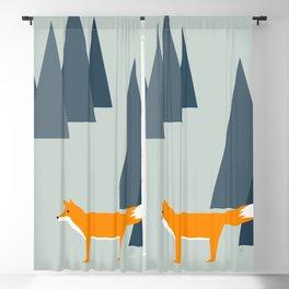 fox, woodland animals, minimal Blackout Curtain