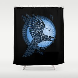 Viking Raven of Death - Blue Shower Curtain
