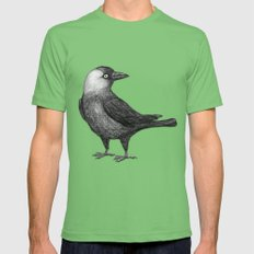Western jackdaw pencildrawing Mens Fitted Tee X-LARGE Grass
