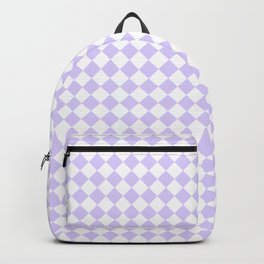 White and Pale Lavender Violet Diamonds Backpack