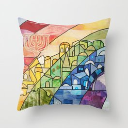 Jerusalem Rainbow Throw Pillow