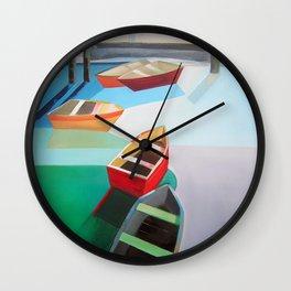 Five Boats Wall Clock