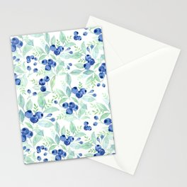 Midsummer - Watercolor Blueberries  Stationery Cards