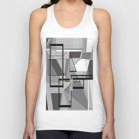 gray pattern Tank Tops featuring Gray Geometry by EloiseArt