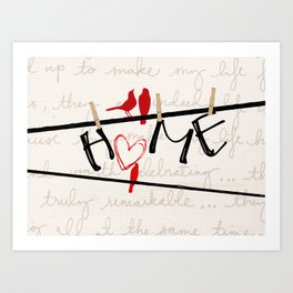 Home Letters Red Bird Clothesline A712 Art Print