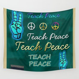 Teach Peace Blackboard Symbols Wall Tapestry