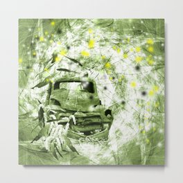 Dream wreck in grunge green kaleidoscope Metal Print