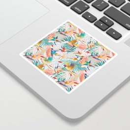 Colorful, Vibrant Paradise Birds and Leaves Sticker