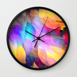 Colourful abstract with leaf shapes Wall Clock