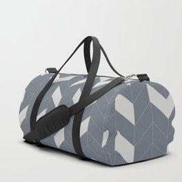 Grey and Grey Herringbone Duffle Bag