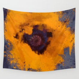 Bright Yellow Poppy Painting Blue Gray Background Wall Tapestry