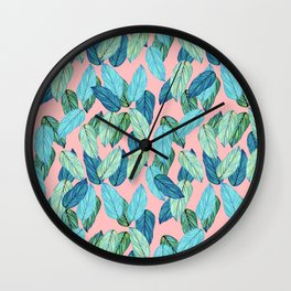 Tropical leaves on Pink Wall Clock