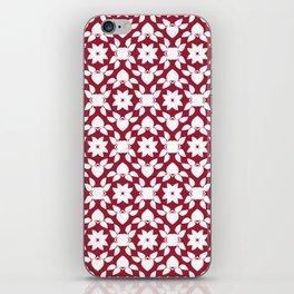 Crimson Red Flower Leaf Pattern iPhone Skin