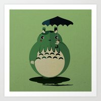 cthulu Art Prints featuring my neighbor cthulu by pixel.pwn | AK