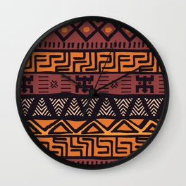 Tribal ethnic geometric pattern 021 Wall Clock