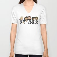 1d V-neck T-shirts featuring Schulz Dancing 1D by Ashley R. Guillory