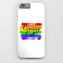 Coming Out calligraphy hand lettering on rainbow flag iPhone Case