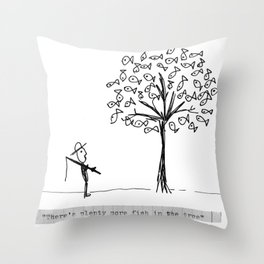 more fish in the tree Throw Pillow