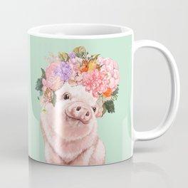 Baby Pig with Flowers Crown in Pastel Green Coffee Mug