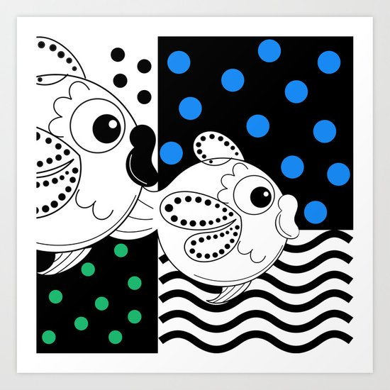 Fish and Patterns Op Art Art Print