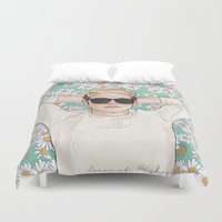 niall Duvet Covers featuring Niall daisies field by Coconut Wishes