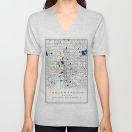 Indianapolis map poster print wall art | Indiana gift  | Modern map decor Unisex V-Neck