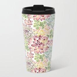Bright Watercolor Succulents Metal Travel Mug