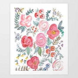 Watercolor Floral Print Art Print