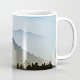 Mountain Foggy hills rainy day with pines trees forest landscape photography blue and green Coffee Mug