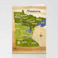 minnesota Stationery Cards featuring Minnesota Map by Carpcake