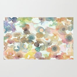 Watercolour spirographs Rug