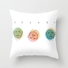 3 heads Throw Pillow