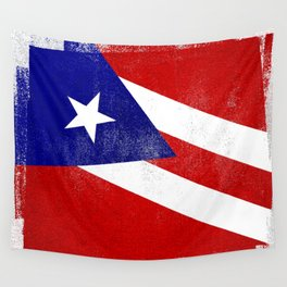 Puerto Rican Distressed Halftone Denim Flag Wall Tapestry