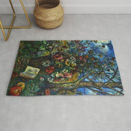 The Artists Home and Flower Garden by David Davidovich Burliuk Rug