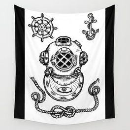 Deep Sea Diver Helmet Illustration Wall Tapestry