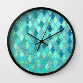 Aqua Teal Mint and Gold Oriental Moroccan Tile pattern Wall Clock