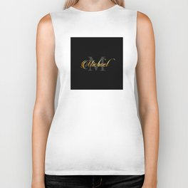 Name and initial of a boy Michael in golden letters Biker Tank