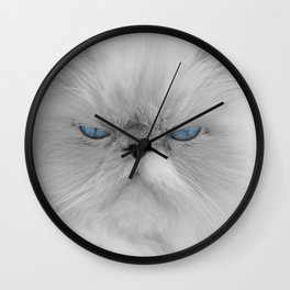 White Angry Cat Wall Clock