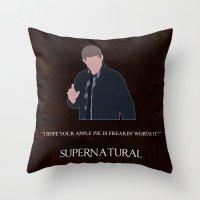 dean winchester Throw Pillows featuring Supernatural - Dean Winchester by MacGuffin Designs