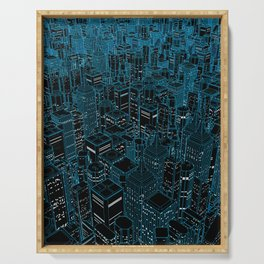 Night light city / Lineart city in blue Serving Tray