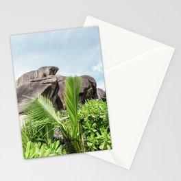 tropical landscape view la digue seychelles Stationery Cards