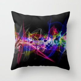 Colorful musical notes and scales artwork Throw Pillow