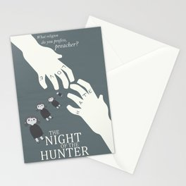 the night of the hunter, minimalist movie poster, Charles Laughton, Robert Mitchum, film wall art Stationery Cards