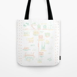 Savannah, Georgia Illustrated Calligraphy Map Tote Bag