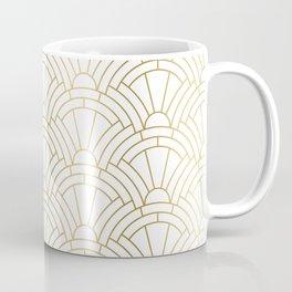 Gold and white geometric Art Deco pattern Kaffeebecher
