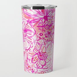 BOOM CLAP Tropical Pink Coral Floral Travel Mug